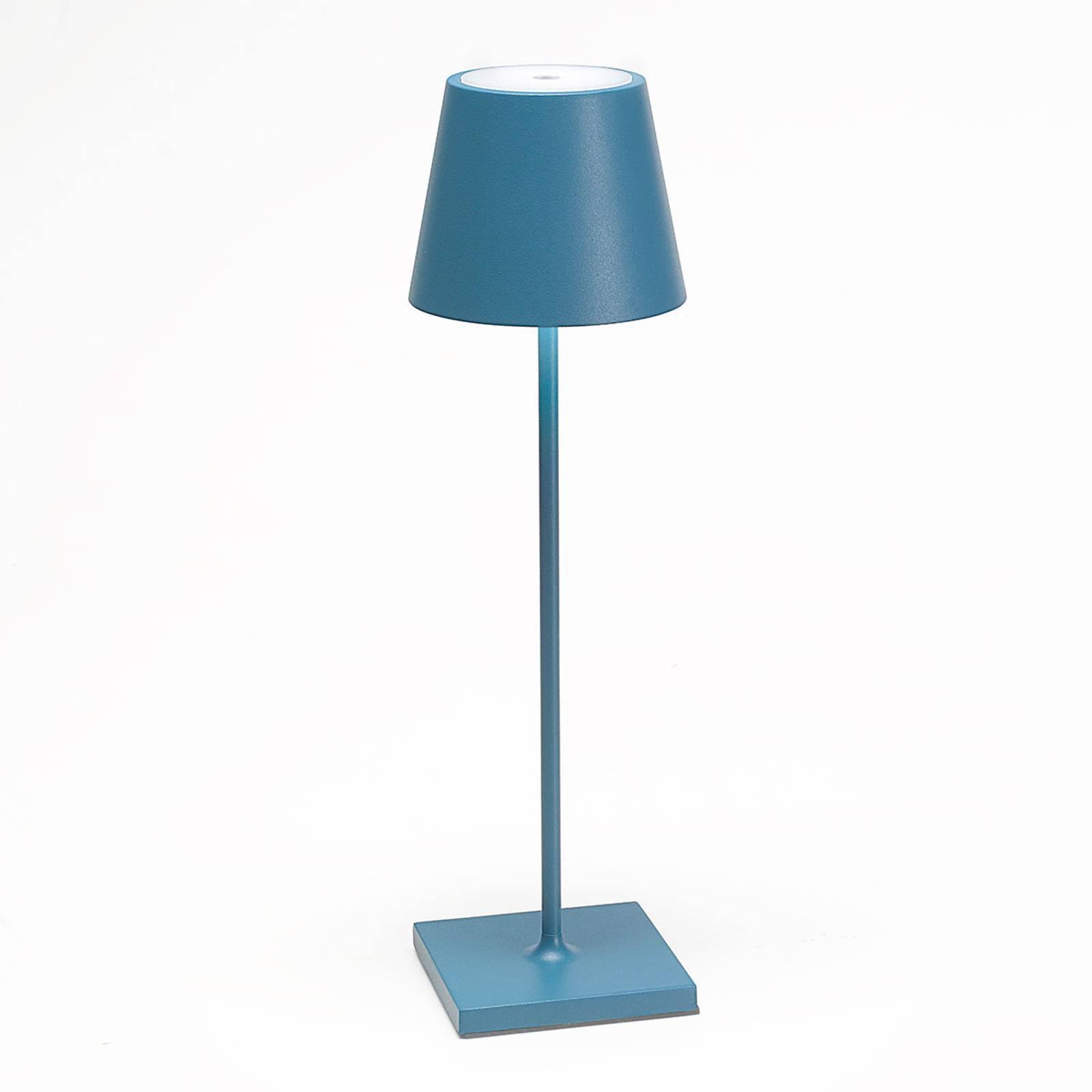 LED-bordlampe Poldina med batteri, bærbar, blå