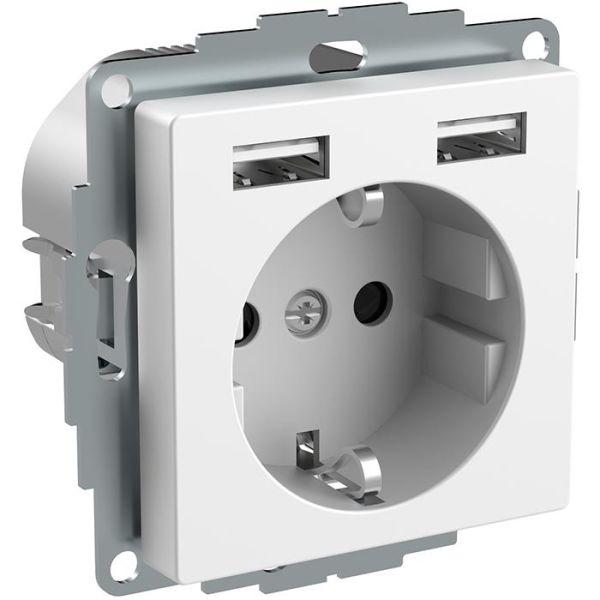Schneider Electric Exxact WDE002179 Seinäpistorasia maadoitettu, 2-osainen, USB:llä, valkoinen
