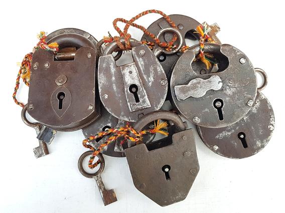Large Antique Iron Padlock