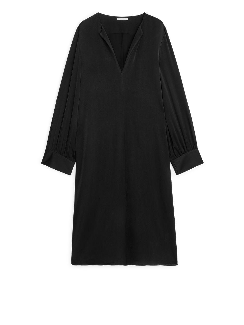 Short Long-Sleeved Dress - Black