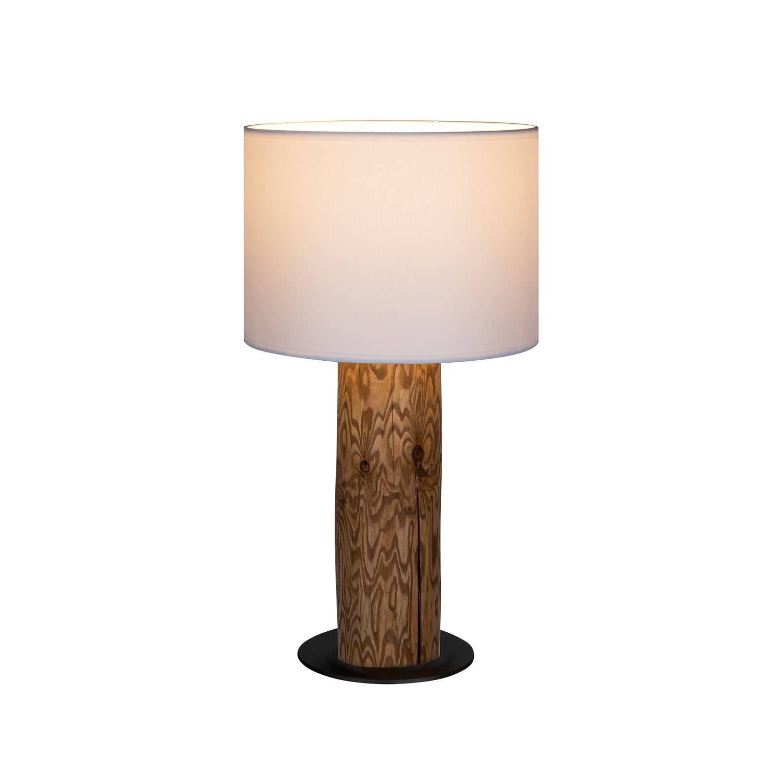 Bordlampe Pino Simple, skjerm hvit, fot brun
