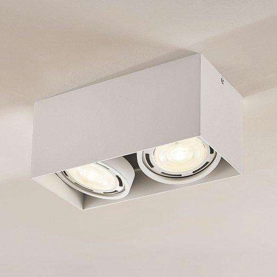 LED-alasvalo Rosalie 2-lamp., kulmikas, valkoinen