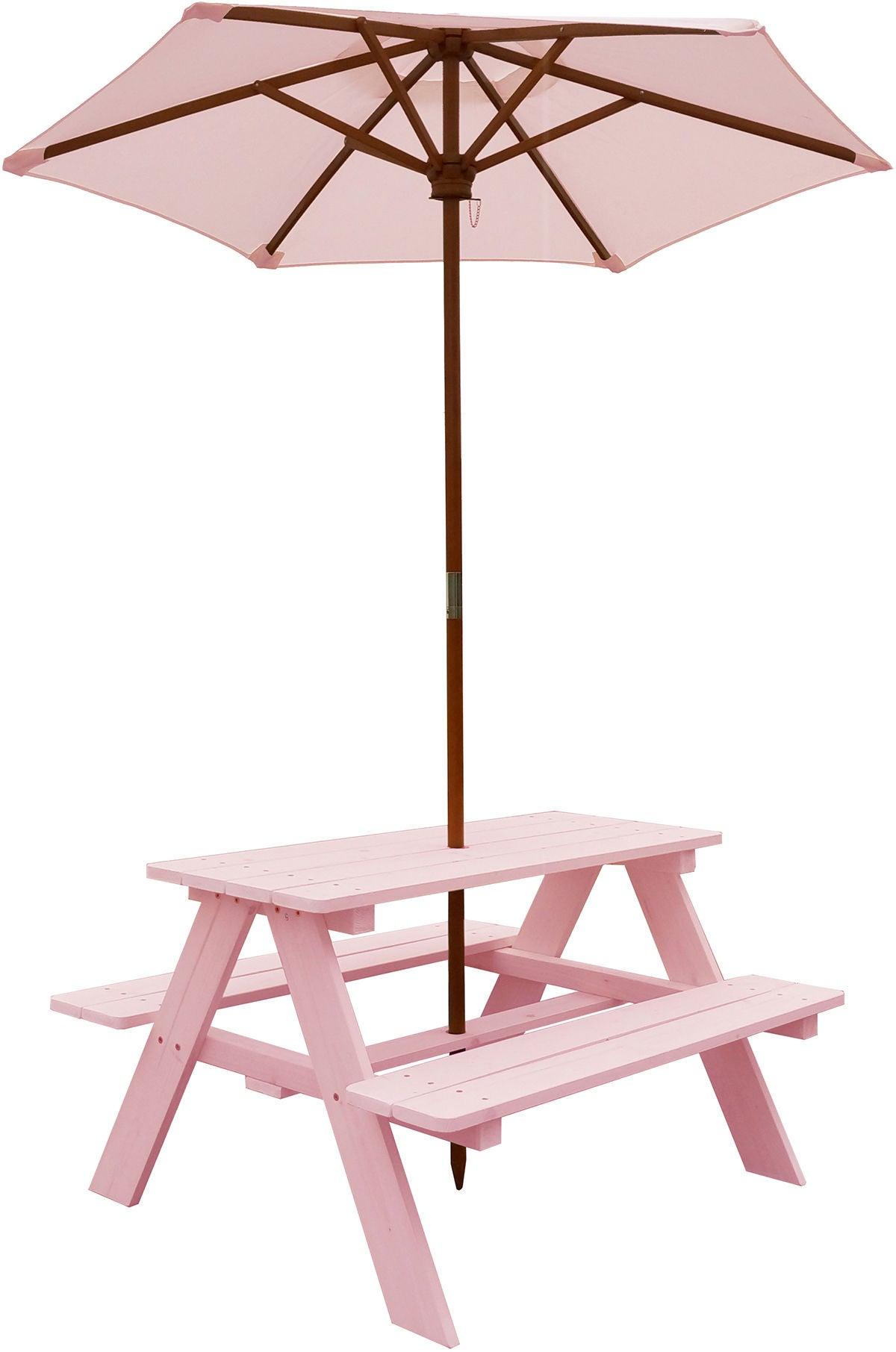 Woodlii Piknikpöytä Aurinkovarjolla, Vaaleanpunainen