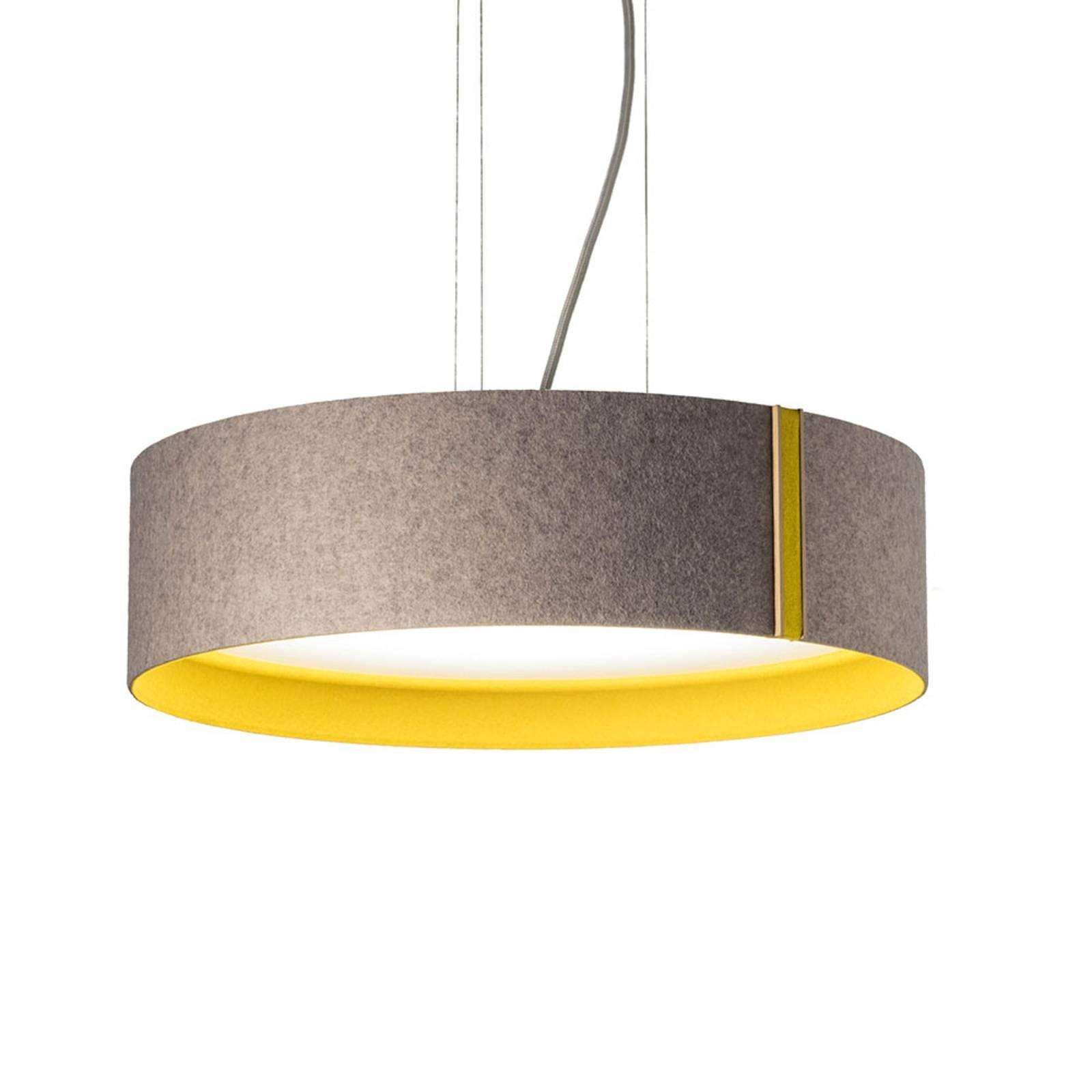 LED-riippuvalaisin LARAfelt M, Ø43cm, harmaa/curry