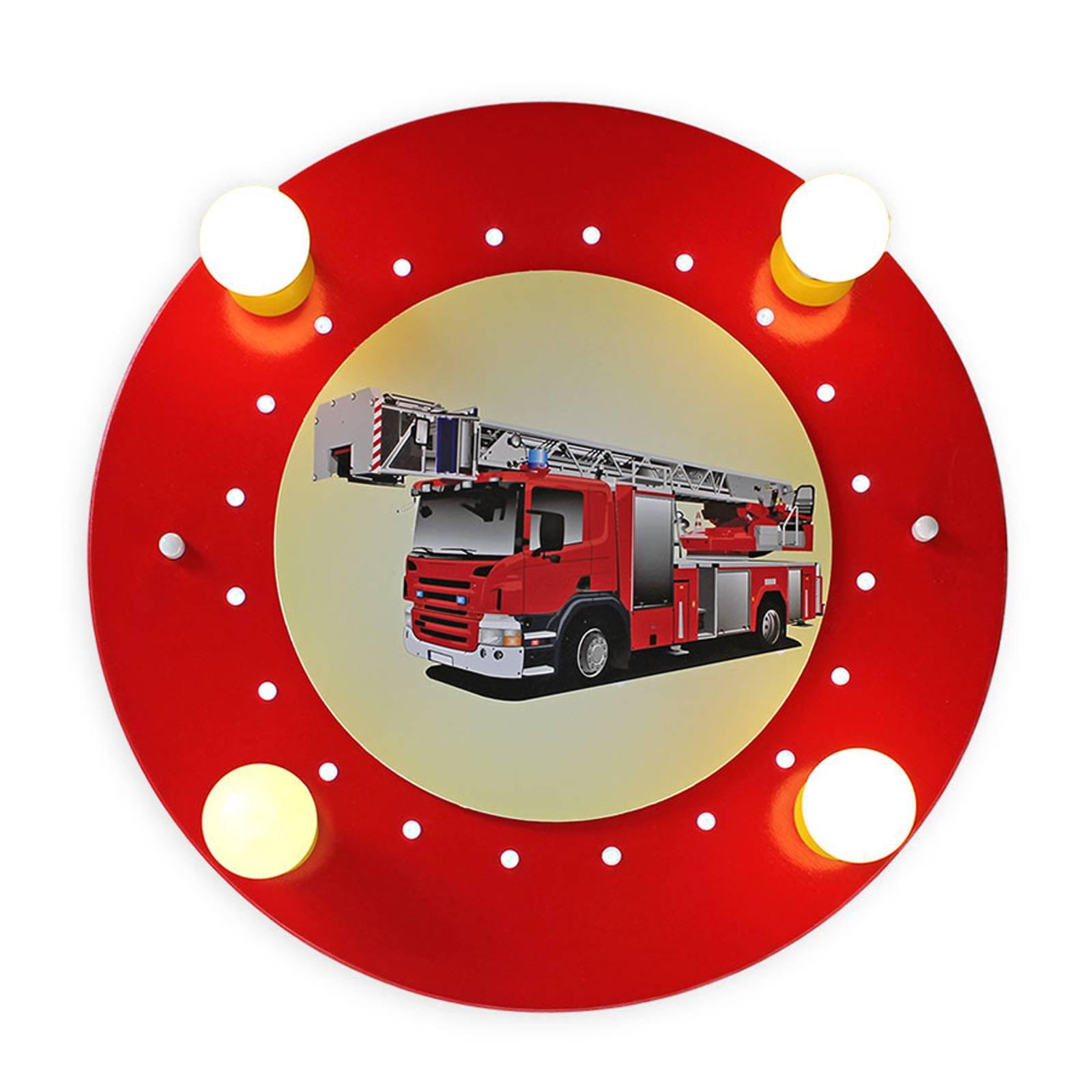 Taklampe Brannbil, rød og gul, 4 lyskilder