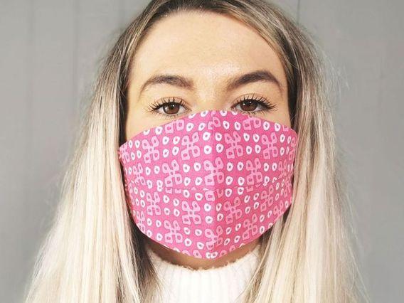 Pink Patterned Face Mask Pink