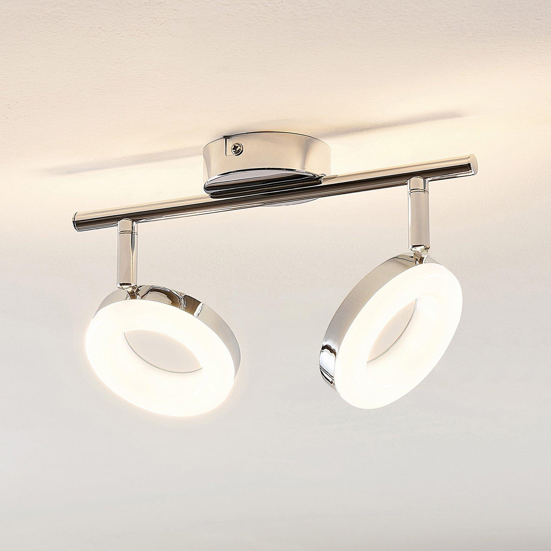 ELC Tioklia LED-taklampe, krom, 2 lyskilder