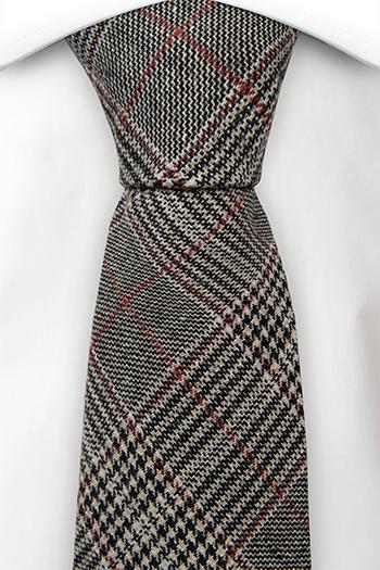 Ull Slips, Glen check in beige, black & a red stripe, Notch CEDRIC