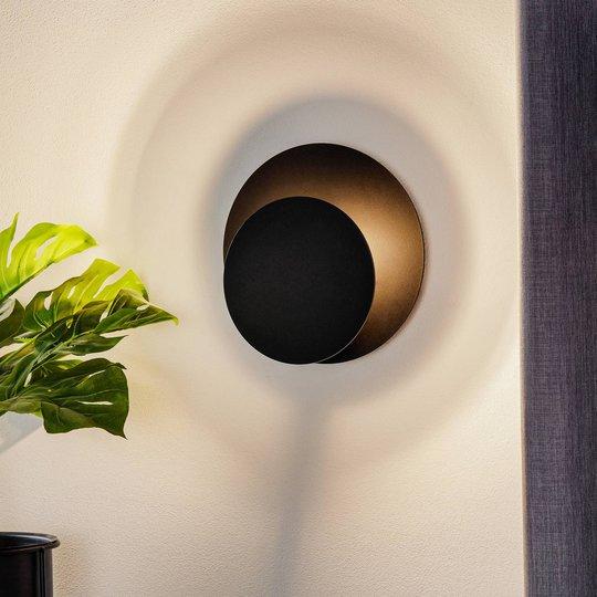 Vegglampe Circle i rund form, svart