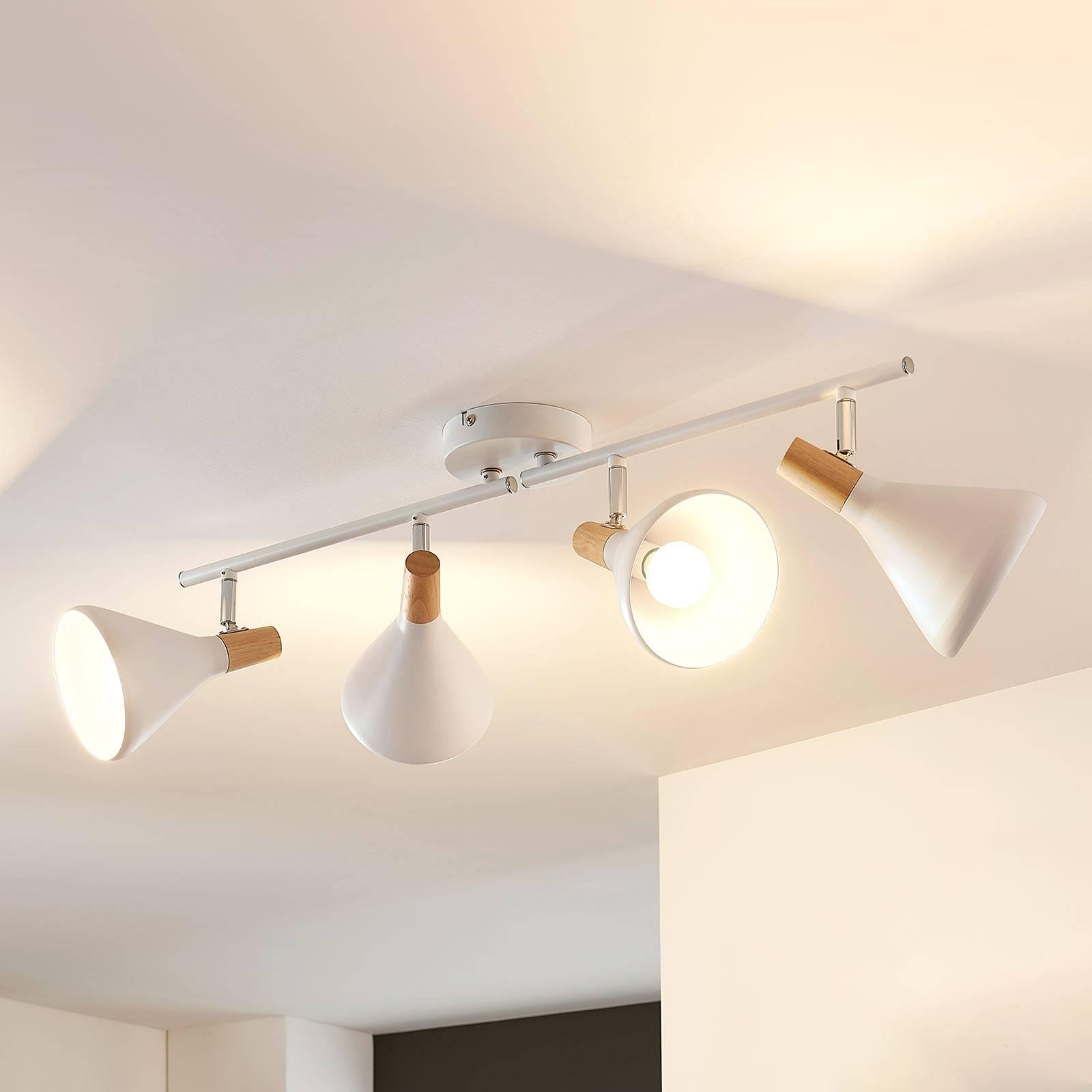 Nelilamppuinen LED-kattovalaisin Arina, puuta