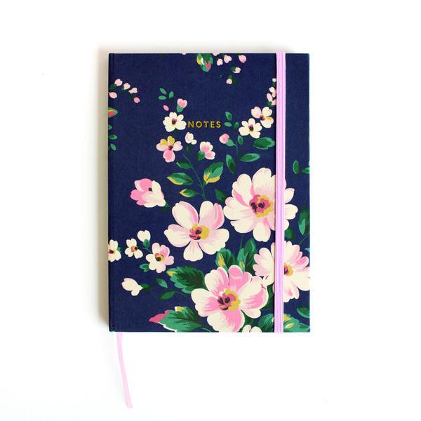 Autumn Navy Floral Clothbound Notebook A5