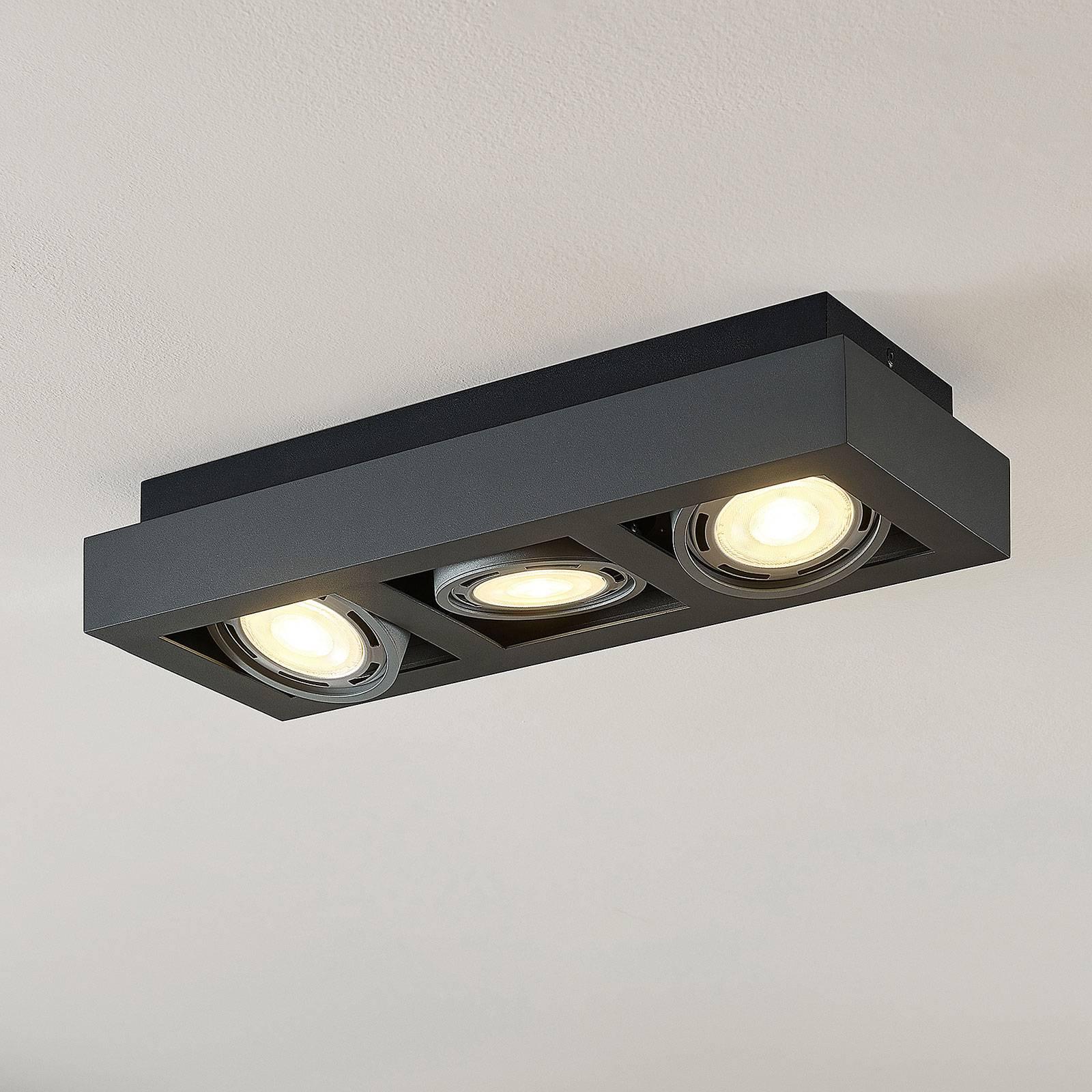 LED-kattospotti Ronka, GU10, 3-lampp., t.harmaa