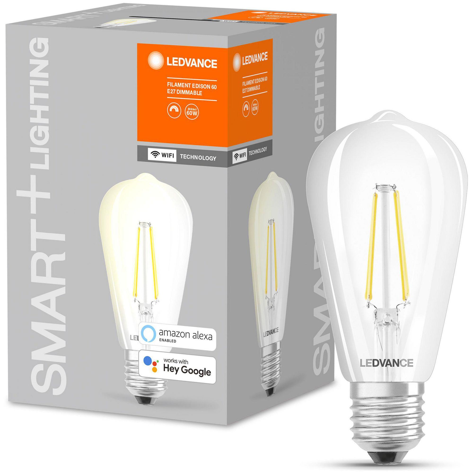 LEDVANCE - SMART+ edison 60W/827 Clear Filament E27 WiFi