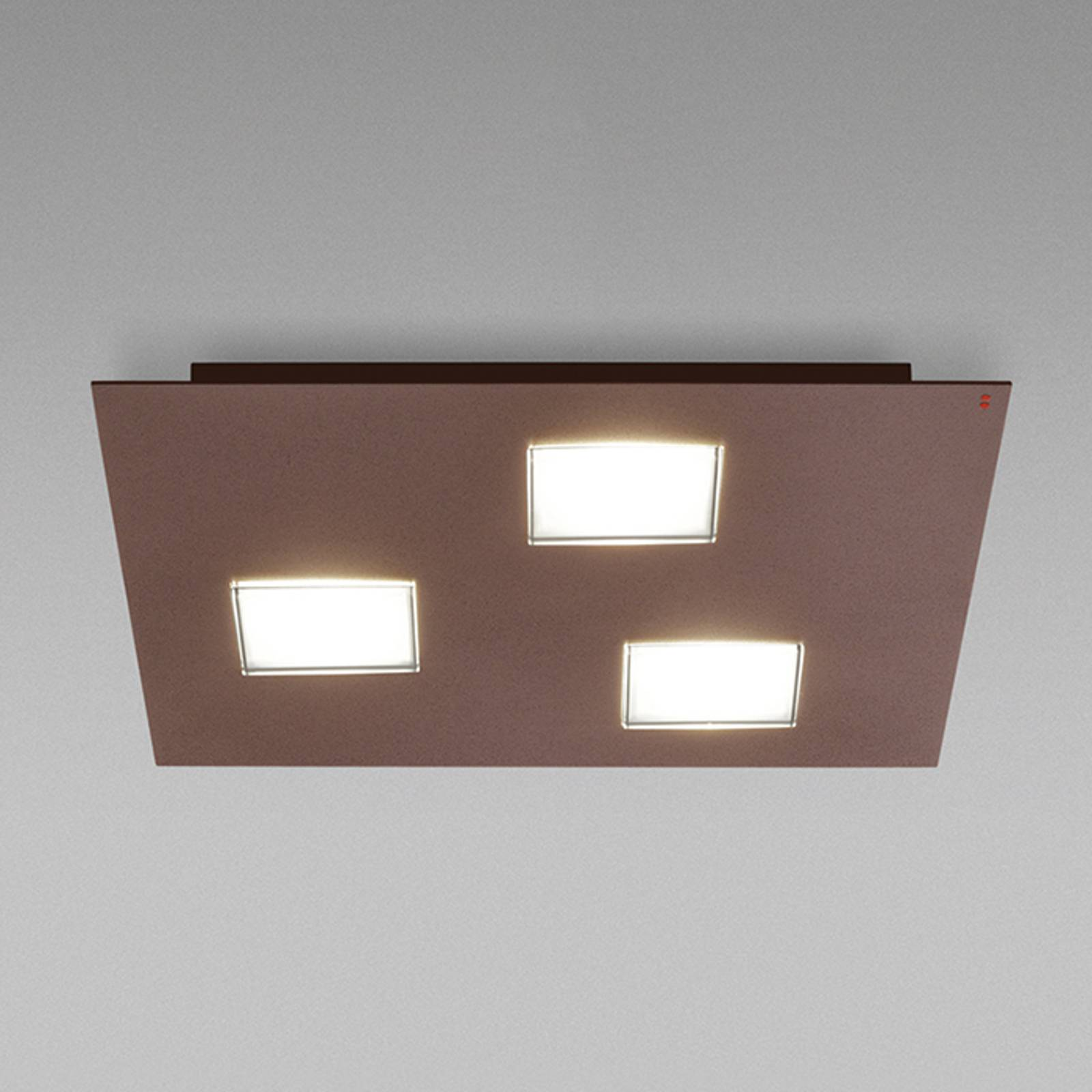 Fabbian Quarter -LED-kattovalaisin 3-lamp. ruskea