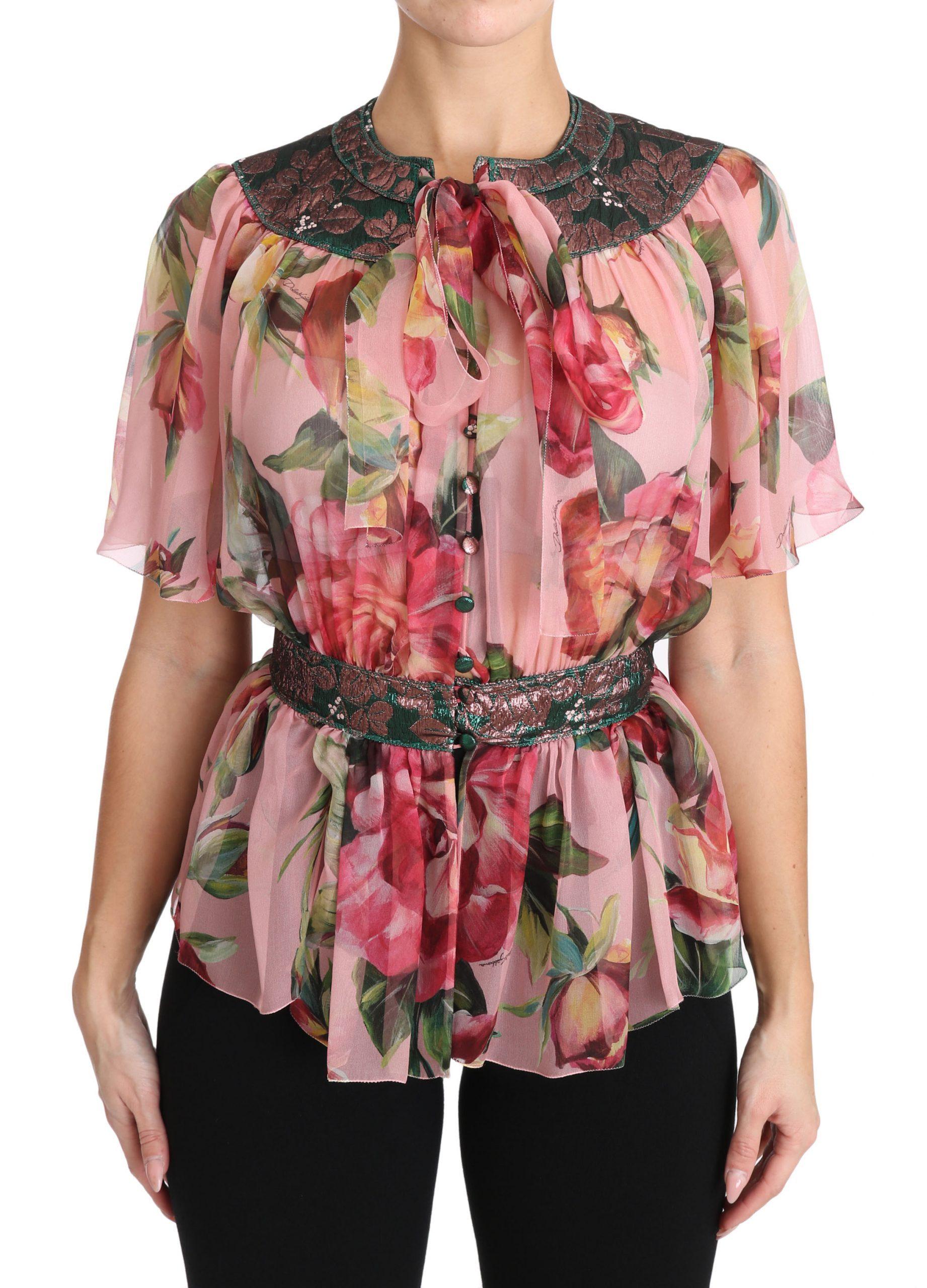 Dolce & Gabbana Women's Pussy Bow Tops Pink TSH3134 - IT36|XXS