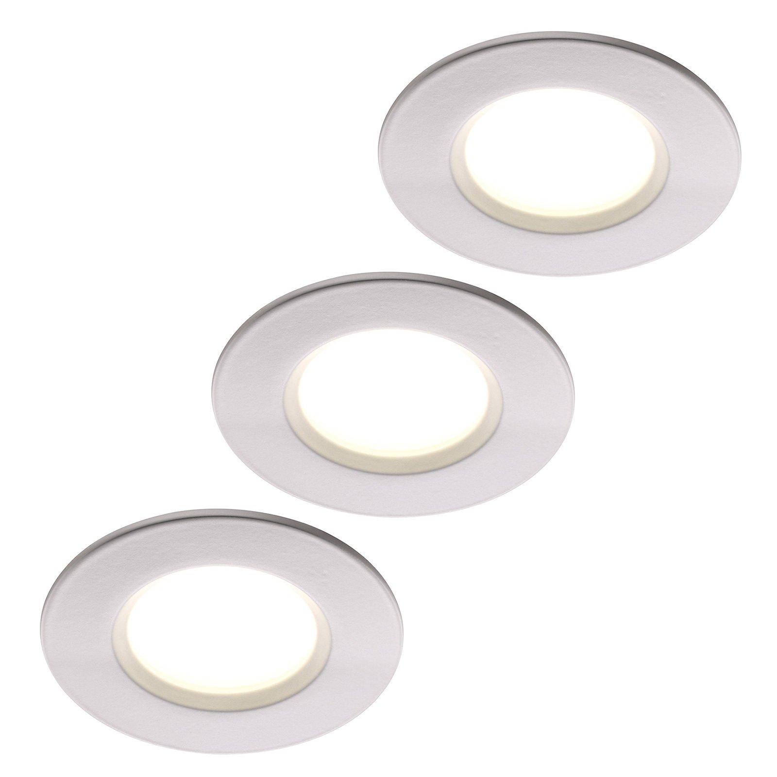 LED-innfellingslampe Clarkson 3-er-sett rund, hvit