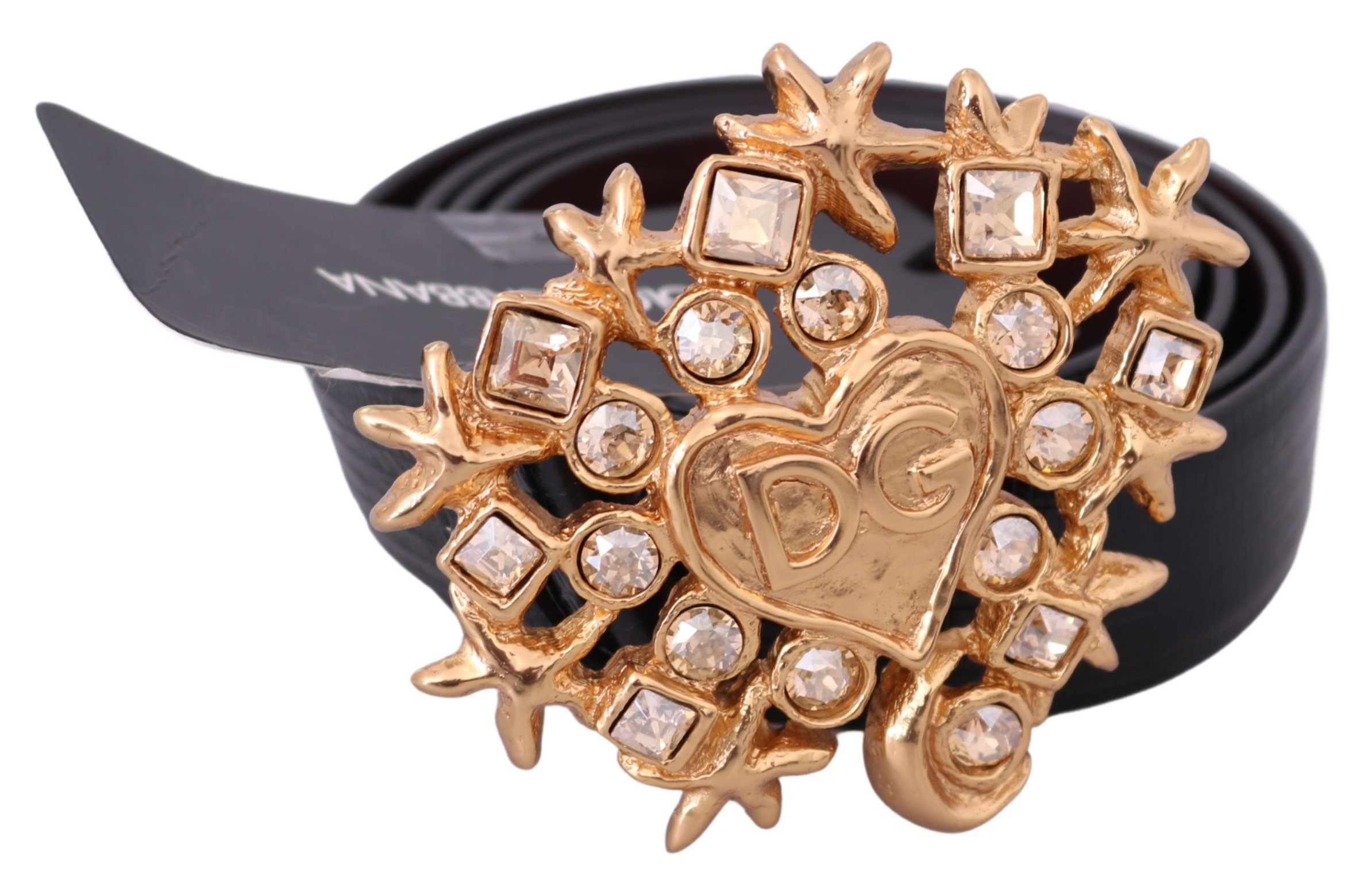 Dolce & Gabbana Men's Leather Heart Crystal Buckle Belt Black BEL60493 - 100 cm / 40 Inches