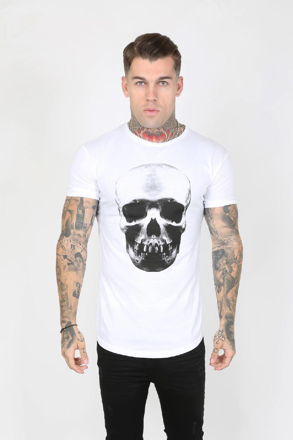 Hellz Crystal Back Logo Skull Print Men's T-Shirt - White, X-Large