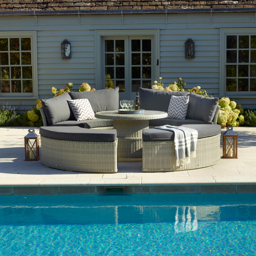 2021 Bramblecrest Monterey Large Dining Daybed Set with Round Adjustable Table - Dove Grey