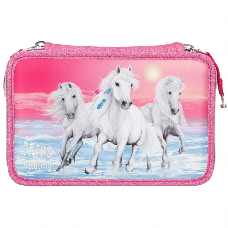 Miss Melody - Triple Pencil Case - Glitter Pink (410110)