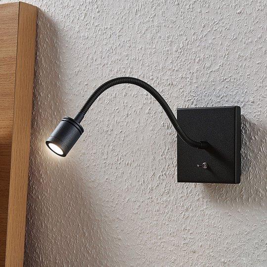 LED-veggleselampe Mayar, fleksarm, svart