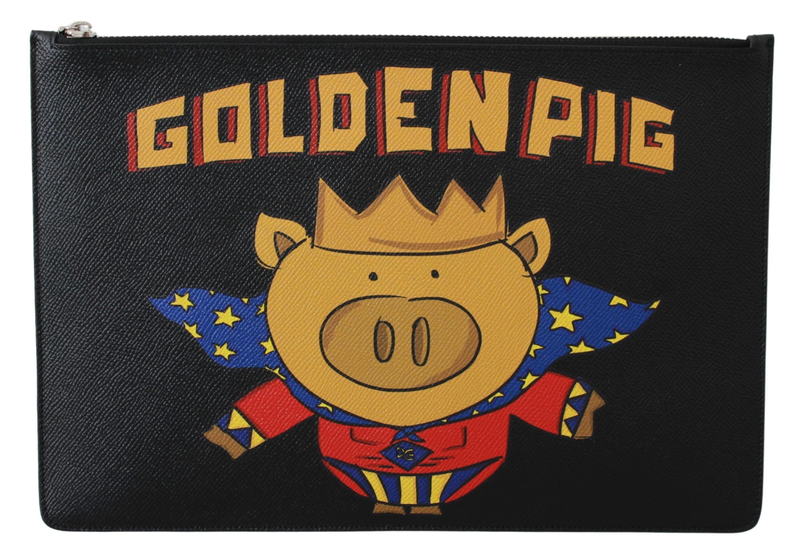 Dolce & Gabbana Men's Golden Pig Leather Messenger Bag Black VAS9492