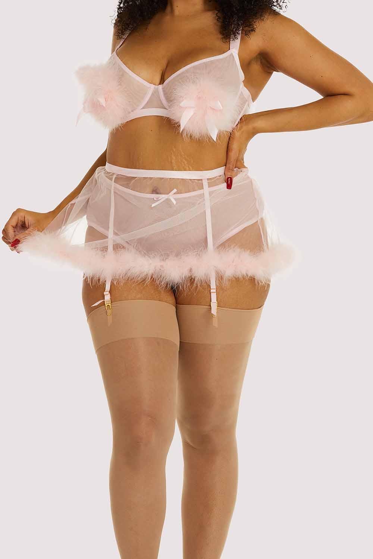Gabi Fresh Marina Pink Feather Suspender Belt UK 26 / US 22