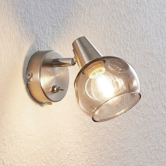 Lindby Almina -seinävalaisin, savulasi, 1-lamp.