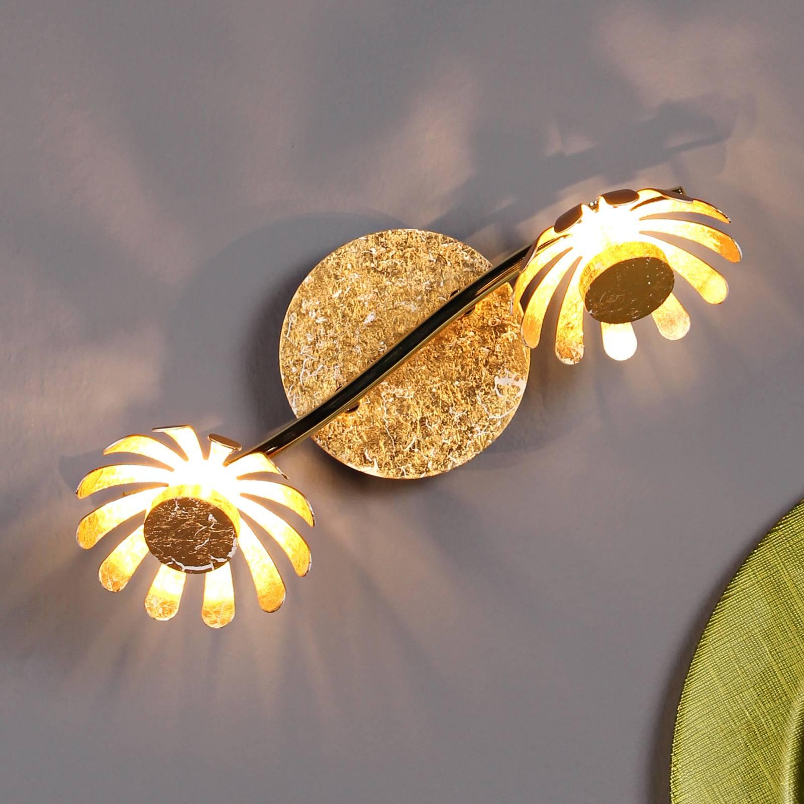 LED-seinävalaisin Bloom, 2-lamppuinen, kulta