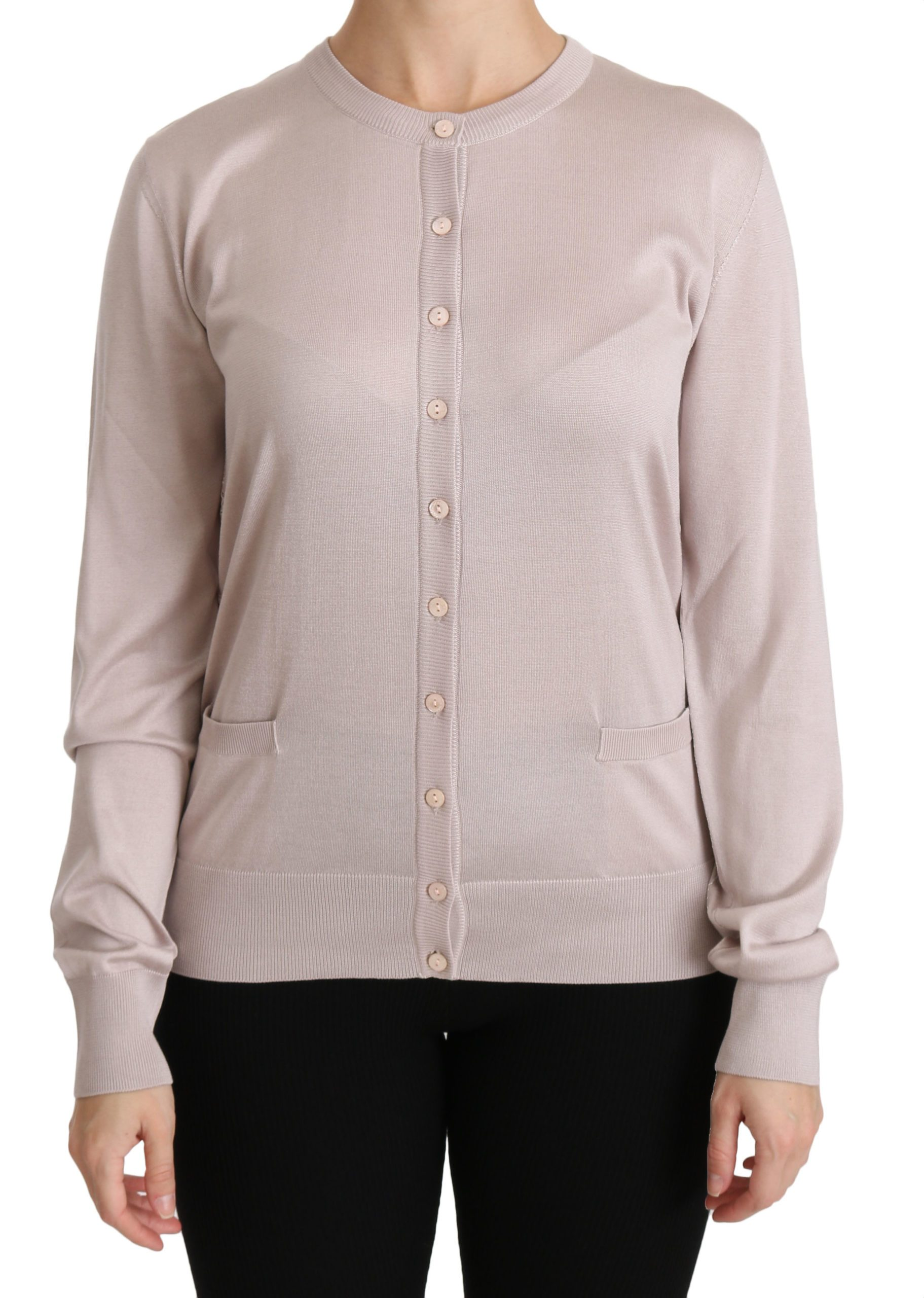 Dolce & Gabbana Women's LS Lace Top Sweater Pink TSH4251 - IT44|L