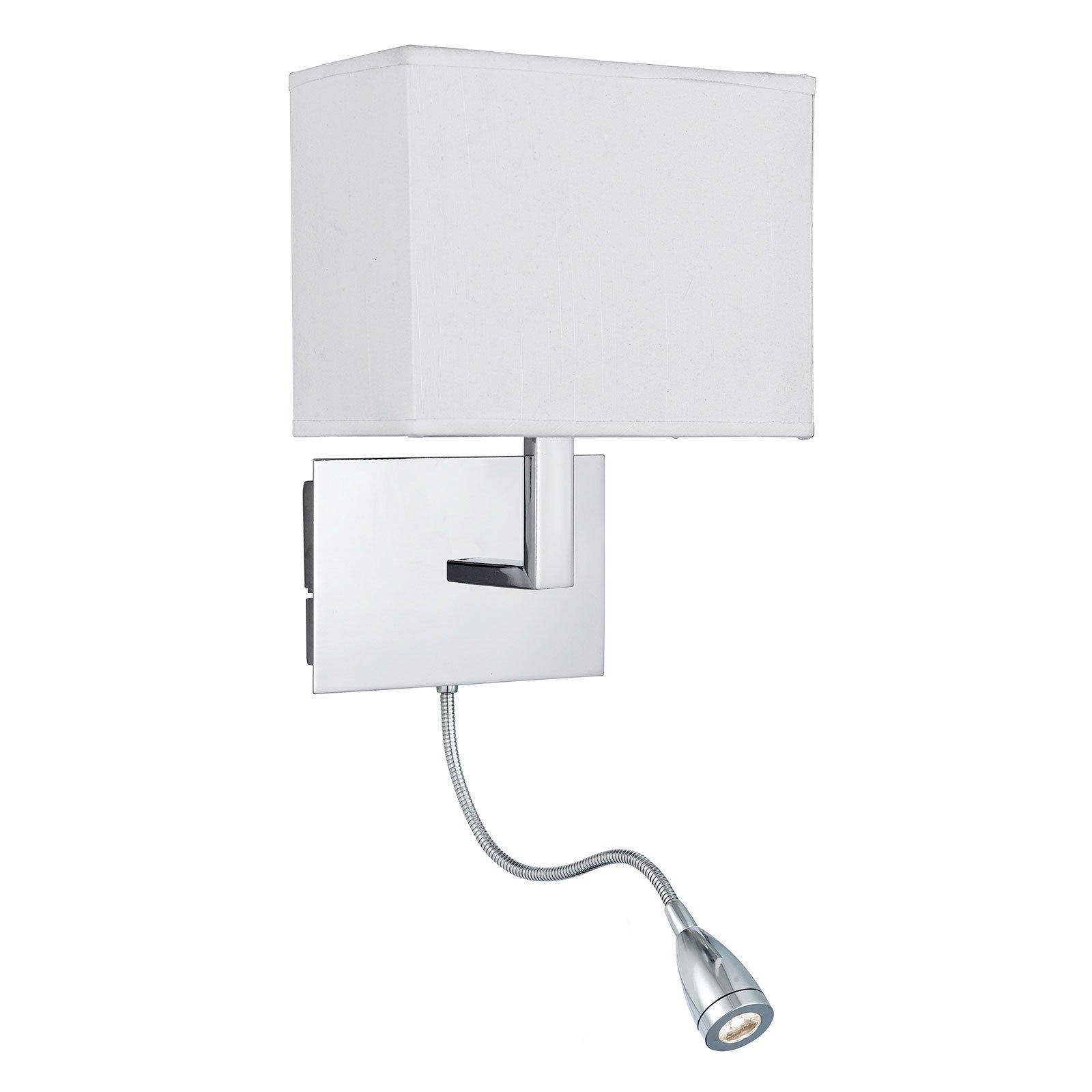 Vegglampe 6519 med LED-leselampe, krom