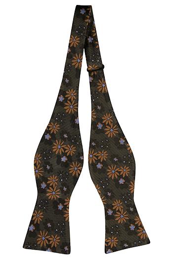 Silke Sløyfer Uknyttede, Grønn med gull og grå blomster, Grønn, Blomstrete