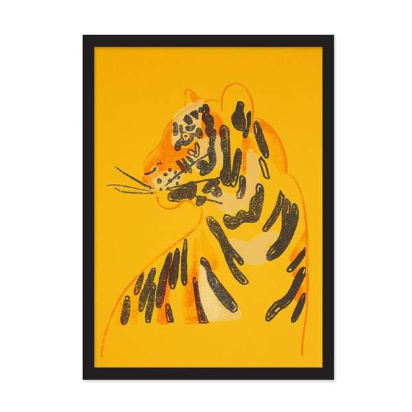 Neon Tiger Riso Print A4