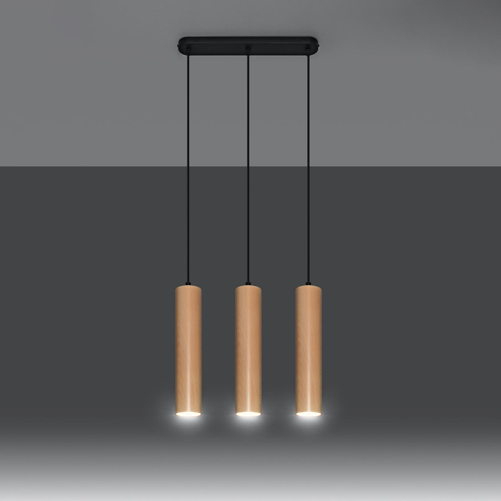 Riippuvalaisin Tube puusta, 3-lamppuinen