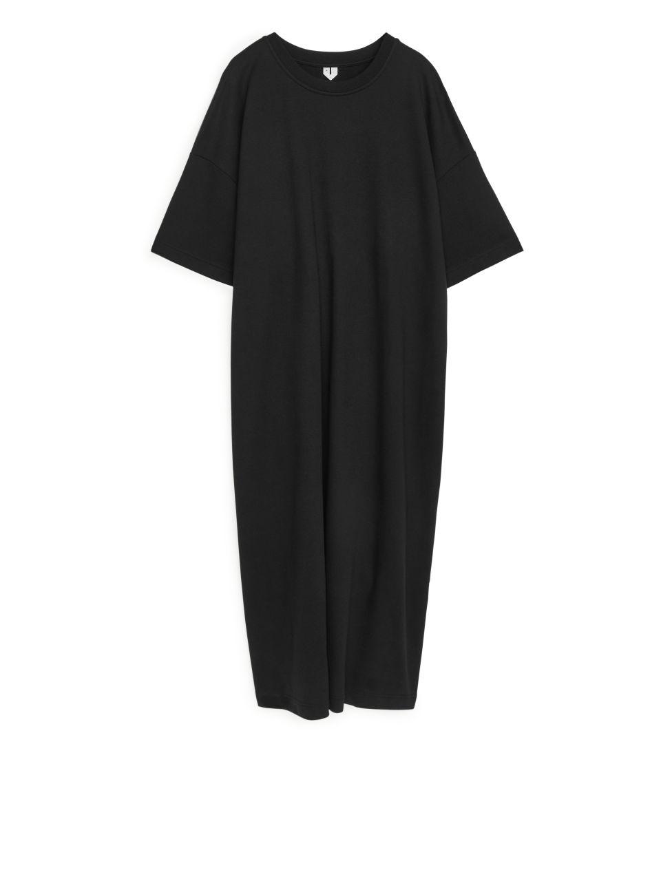 Drawstring-Detail T-Shirt Dress - Black
