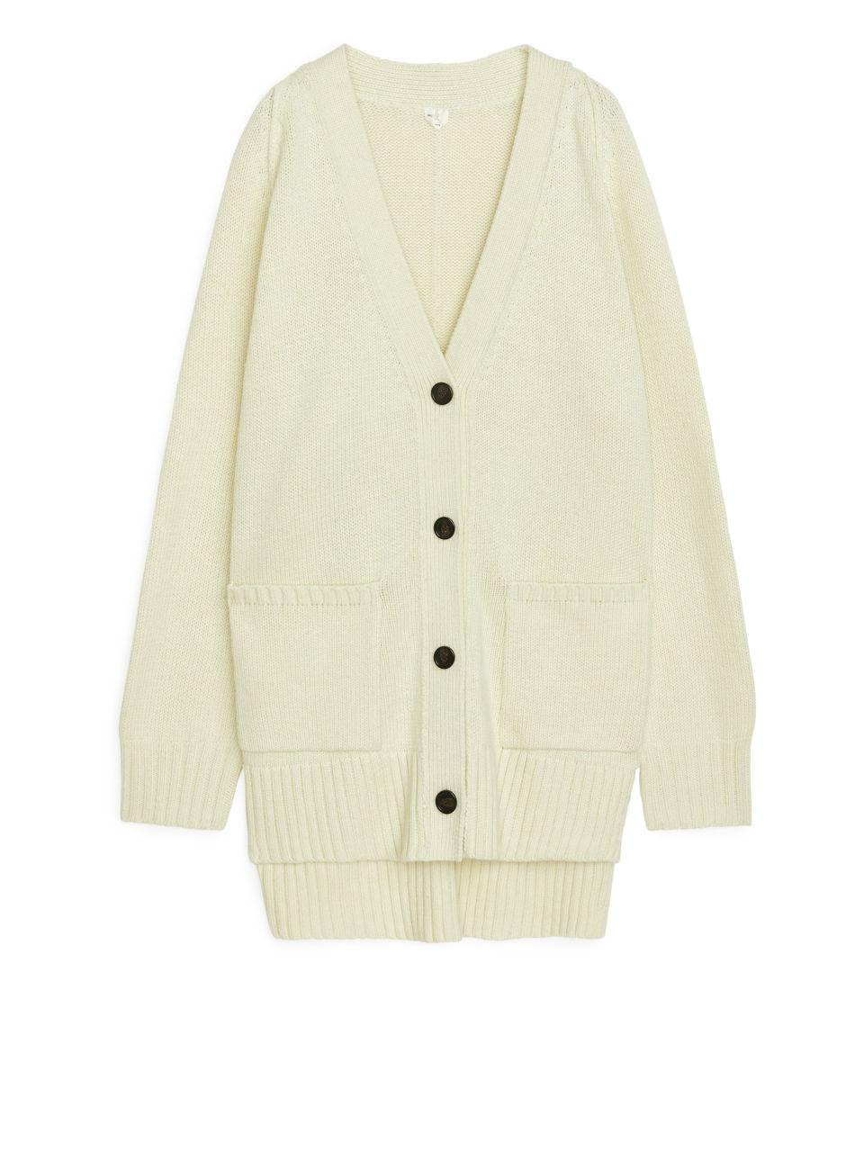 Oversized Wool Cardigan - Yellow