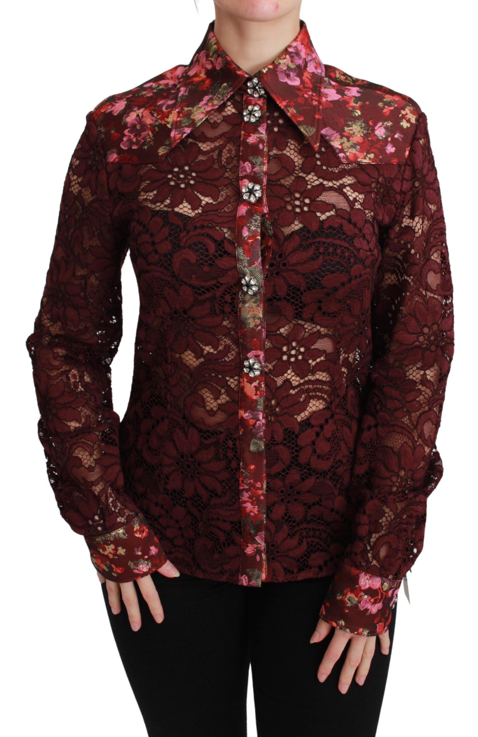 Dolce & Gabbana Women's Lace Floral Crystal Shirt Bordeaux TSH2672BG - IT38|XS