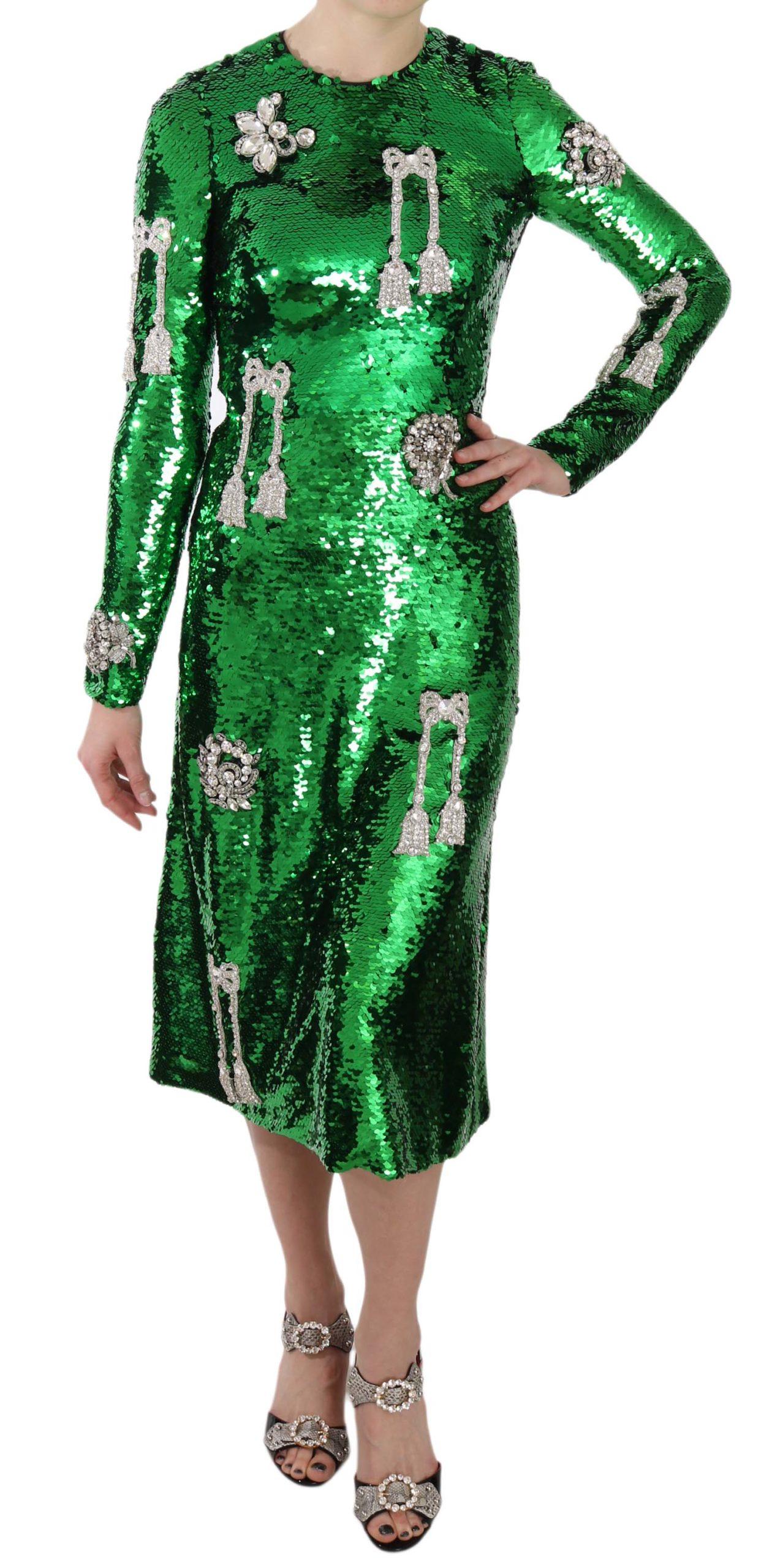 Dolce & Gabbana Women's Sequin Swarovski Crystal Dress Green DR1642 - IT38|XS