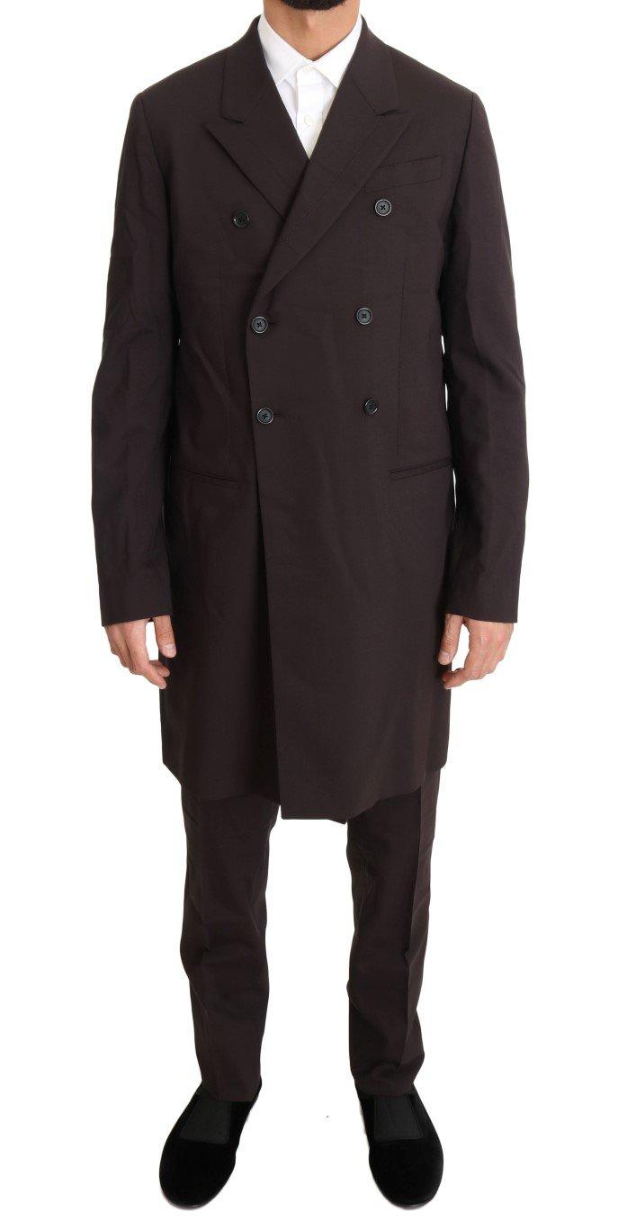Dolce & Gabbana Men's Wool Stretch Long 3 Piece Suit Bordeaux KOS1096 - IT48 | M