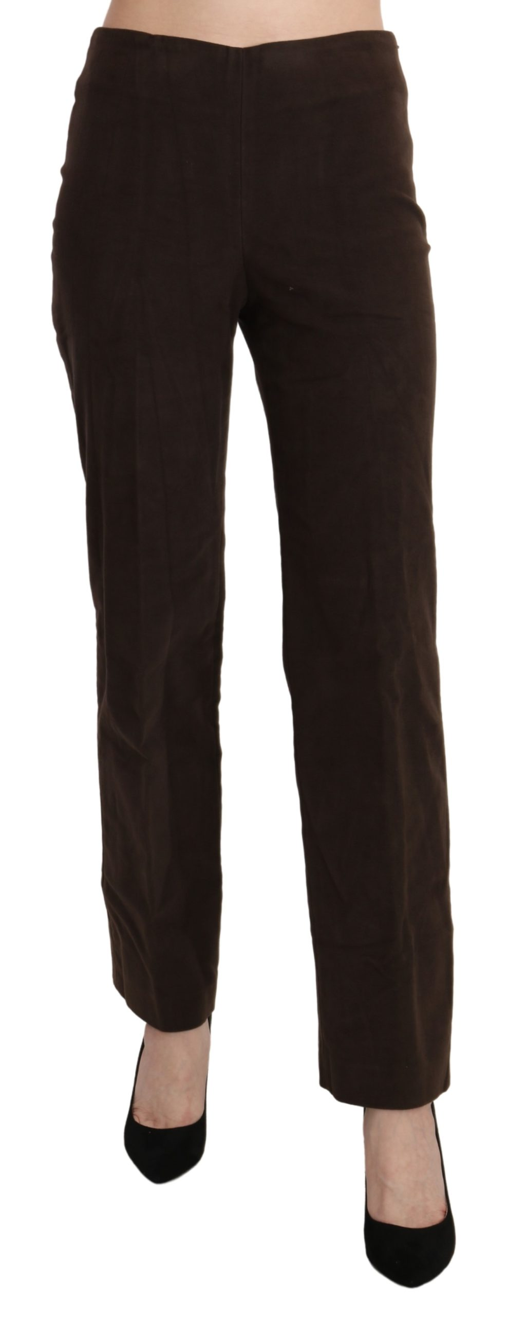 BENCIVENGA Women's Suede High Waist Straight Trousers Brown PAN71374-42 - IT42|M