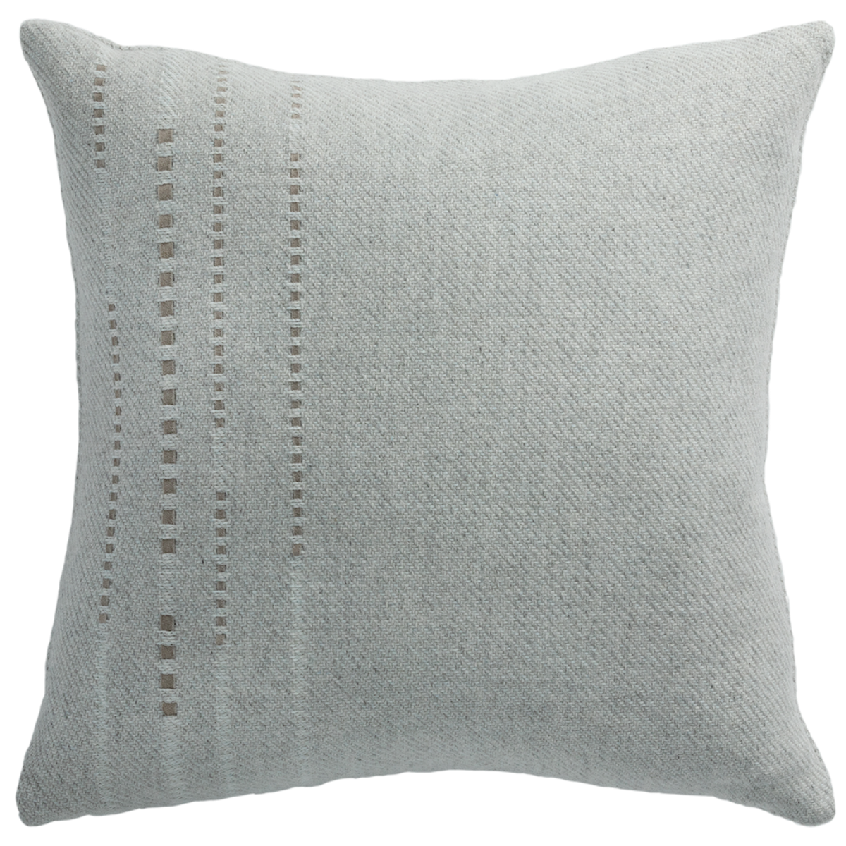 de Le Cuona | Cashmere Wool Twill Cushion With Vertical Detail Light Grey