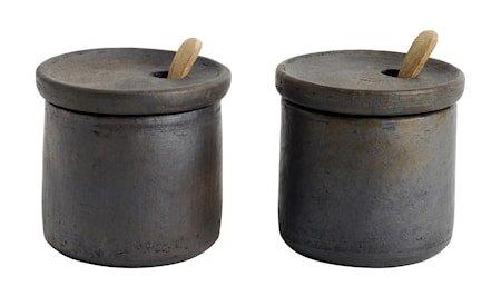 Salt og pepper-sett med lokk Terrakotta 7x7,5 cm