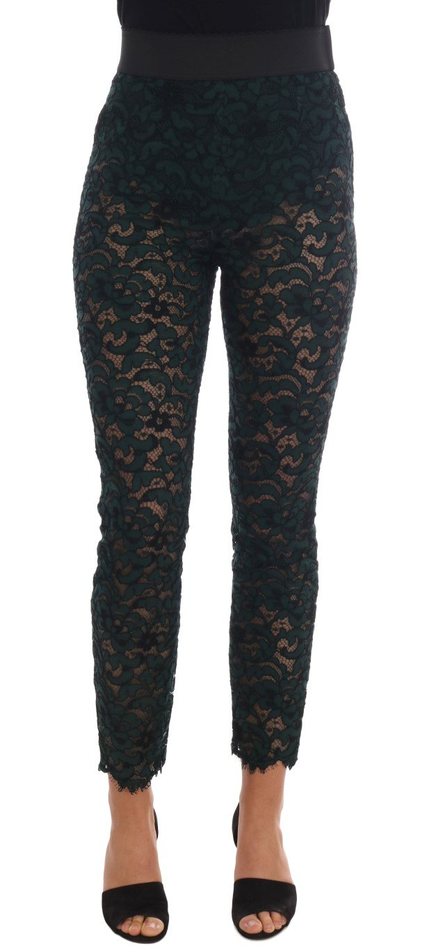 Dolce & Gabbana Women's Floral Lace Leggings Trouser Green BYX1125 - IT38|XS