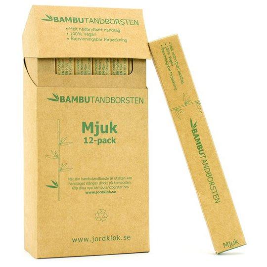 Bambutandborsten Naturlig Tandborste i bambu - Mjuk, 12-pack