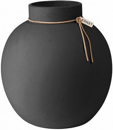 Rund Vase Stengods 22 cm – Mørkegrå