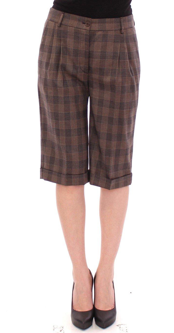 Dolce & Gabbana Women's checkered wool Shorts Brown GSS10051 - IT40 S