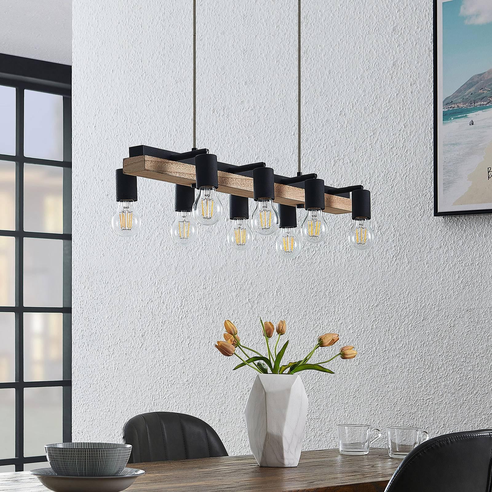 Lindby Morleen -riippuvalo 8-lamppuinen vaalea puu