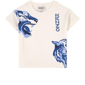 Kenzo Cream and Blue Branded Tiger Print Tee 2 år