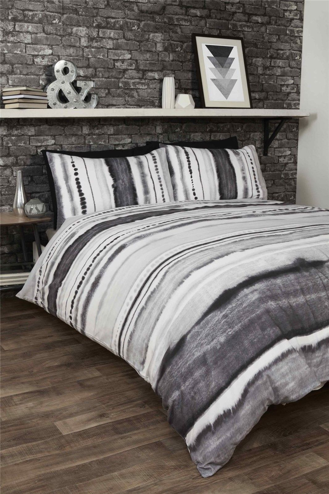 TIE DYED-STYLE GRADED STRIPE BLACK GREY WHITE COTTON BLEND KING SIZE DUVET COVER