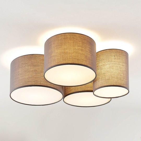 Lindby Laurenz -kattovalaisin, 4-lamp., harmaa